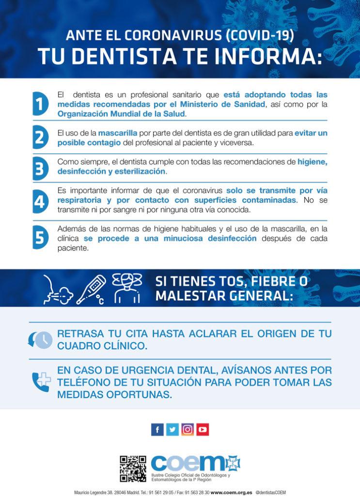 Dentista en Alcorcón y Móstoles - Clínica Stoma - Información COEM Coronavirus